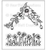 Heartfelt Creations Cling Rubber Stamp Set 5x6.5 - Poppy Corner and Border (BP15)