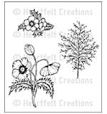 Heartfelt Creations Cling Rubber Stamp Set 5x6.5 - Blazing Poppy Fillers (BP15)