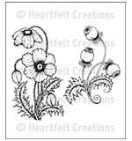 Heartfelt Creations Cling Rubber Stamp Set 5x6.5 - Blazing Poppy Stems (BP15)