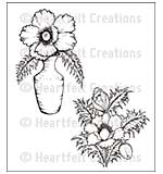 Heartfelt Creations Cling Rubber Stamp Set 5x6.5 - Blazing Poppy Vase (BP15)