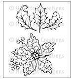 Heartfelt Creations Cling Rubber Stamp Set 5x6.5 - Large Sparkling Poinsettia (SP15)