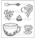 Heartfelt Creations Cling Rubber Stamp Set 5x6.5 - Coffee Talk