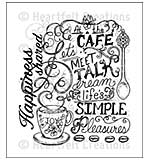 Heartfelt Creations Cling Rubber Stamp Set 5x6.5 - Coffee Talk Background