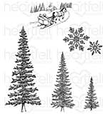Heartfelt Creations Cling Rubber Stamp Set - Snow Kissed Spruce (SK16)