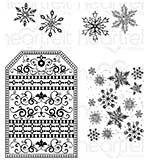 Heartfelt Creations Cling Rubber Stamp Set - Snow Kissed Flakes and Tag (SK16)