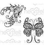 Heartfelt Creations - Fluttering Butterfly - Cling Rubber Stamp Set