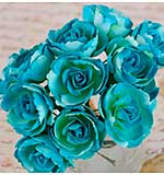 Soprano Handmade Paper Flowers with Wire Stems 1 12pk - Aqua