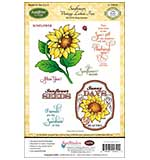 JustRite Papercraft Cling Stamp Set 5.5x8.5 - Sunflower Vintage Labels 5 8pcs