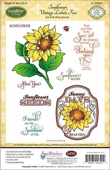 JustRite Papercraft Cling Stamp Set 5.5x8.5 - Sunflower Vintage Labels 5 8pcs