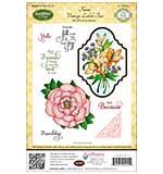 JustRite Papercraft Cling Stamp Set 5.5x8.5 - Floral Vintage Labels 2 8pcs