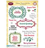 JustRite Papercraft Clear Stamp Set 6x8 - Christmas Vintage Labels Seven 19pc