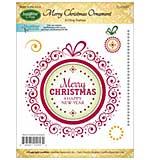 JustRite Papercraft Mini Cling Stamp Set 3.5x4 - Merry Christmas Ornament 6pc