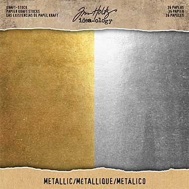 SO: Idea-Ology Kraft Stock Cardstock Pad 8 x 8 36pk - Metallic Gold and Silver