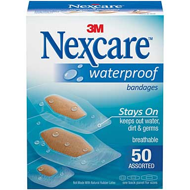 Nexcare Waterproof Bandages 50pk - Assorted Sizes