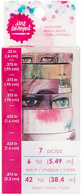 SO: Jane Davenport Mixed Media - Faces Washi Tape (7 rolls, 6 yd)