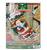 Santas Visit Stocking Felt Applique Kit - 18inch Long