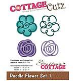 CottageCutz Die - Doodle Flowers Set 1, 1.1 To 1.4