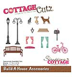 CottageCutz Die - Build-A-House Acces. Bicycle and Bench