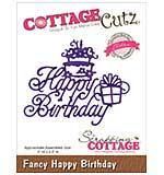 CottageCutz Elites Die - Fancy Happy Birthday, 3x2.5