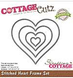 CottageCutz Basics Frame Dies 4-pkg - Stitched Heart, .8x.7 To 3.7x3.5