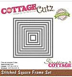CottageCutz Basics Frame Dies 9-pkg - Stitched Square, .5x.5 To 3.5x3.5