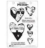 Dina Wakley Media Cling Stamps 6x9 - Collaged Hearts