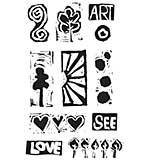 Dina Wakley Media Cling Stamps 6x9 - Primitive Icons