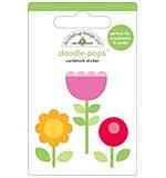 Doodlebug - Posie Patch Flower - Doodle Pops Scrapbook Sticker