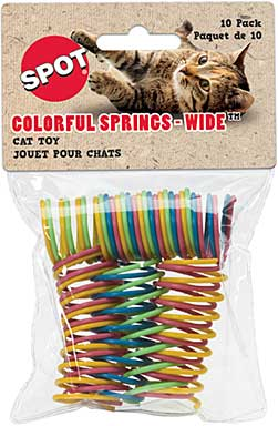 SO: Colourful 1 inch wide Spiral Springs - Cat Toy 10pk (Assorted Colours)