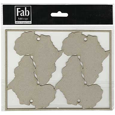 FabScraps Call From The Wild Die-Cut Gray Chipboard Shape - 4 Africa Tags, 7.1X5.3 Frame