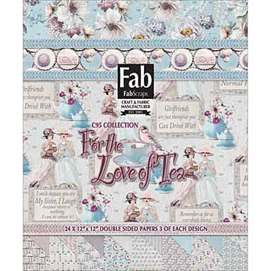 SO: FabScraps Double-Sided Cardstock Pad 12x12 24pk - For The Love Of Tea, 8 Designs
