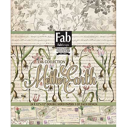 SO: FabScraps Double-Sided Cardstock Pad 12x12 24pk - Mother Earth, 8 Designs