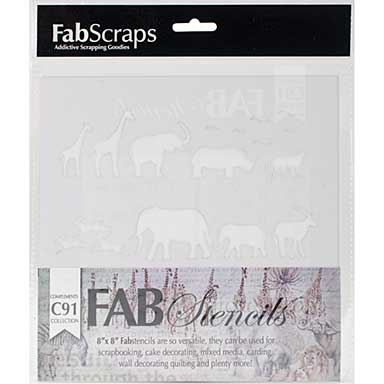 FabScraps Plastic Stencil 8X8 - Call From The Wild, Wild Animals