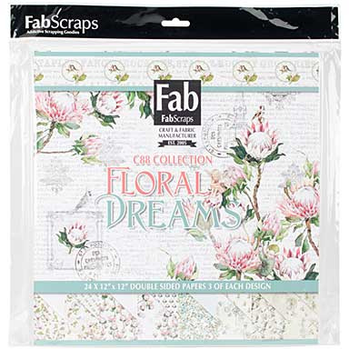 FabScraps Double-Sided Cardstock Pad 12 x 12 - Floral Dreams (24pk Sheets , 8 Designs)