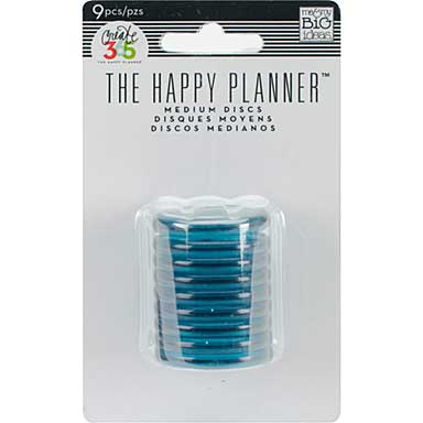 Create 365 Planner Discs 9pk - Clear Teal 1.25inch