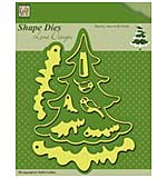 Nellies Choice Shape Dies Snowy Christmas Tree with birds (9 dies)
