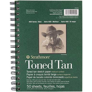 Strathmore Toned 5.5 x 8.5 - Sketch Spiral Paper Pad (Tan 50 Sheets)