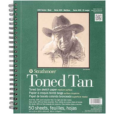 SO: Strathmore Toned 9 x 12 - Sketch Spiral Paper Pad (Tan 50 Sheets)
