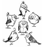 SO: Bird Crazy by Tim Holtz - Stampers Anonymous Cling Rubber Stamp Set 7x8.5 - Bird Crazy