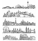 Tim Holtz Cling Rubber Stamp Set 7x8.5 - Cityscapes