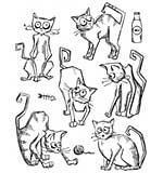 Tim Holtz Cling Stamps 7x8.5 - Crazy Cats