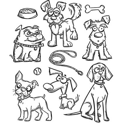 Crazy Dogs - Tim Holtz Cling Rubber Stamp Set