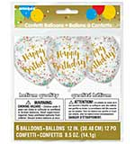 Printed Balloons 12 inc Round - Happy Birthday Gold with Assorted Confetti (6pk)