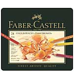 Faber Castell - 24 Polychromos Colour Pencil Crayons in Metal Box