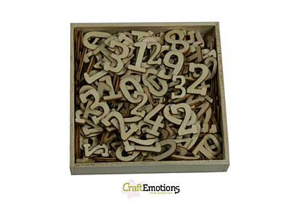 CraftEmotions Wooden Numbers CE, Large and Small (256pcs- in wooden ornament  box 105 x 105mm)
