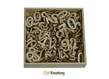 CraftEmotions Wooden Numbers Basic, Large and Small (256pcs- in wooden ornament  box 105 x 105mm)