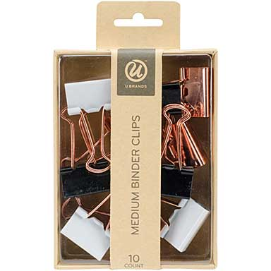 SO: Medium Binder Clips 10pk - Black, Copper, and White