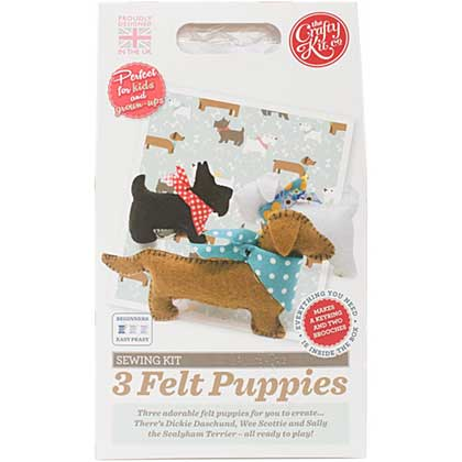 The Crafty Kit Co. Sewing Kit - 3 Felt Puppies